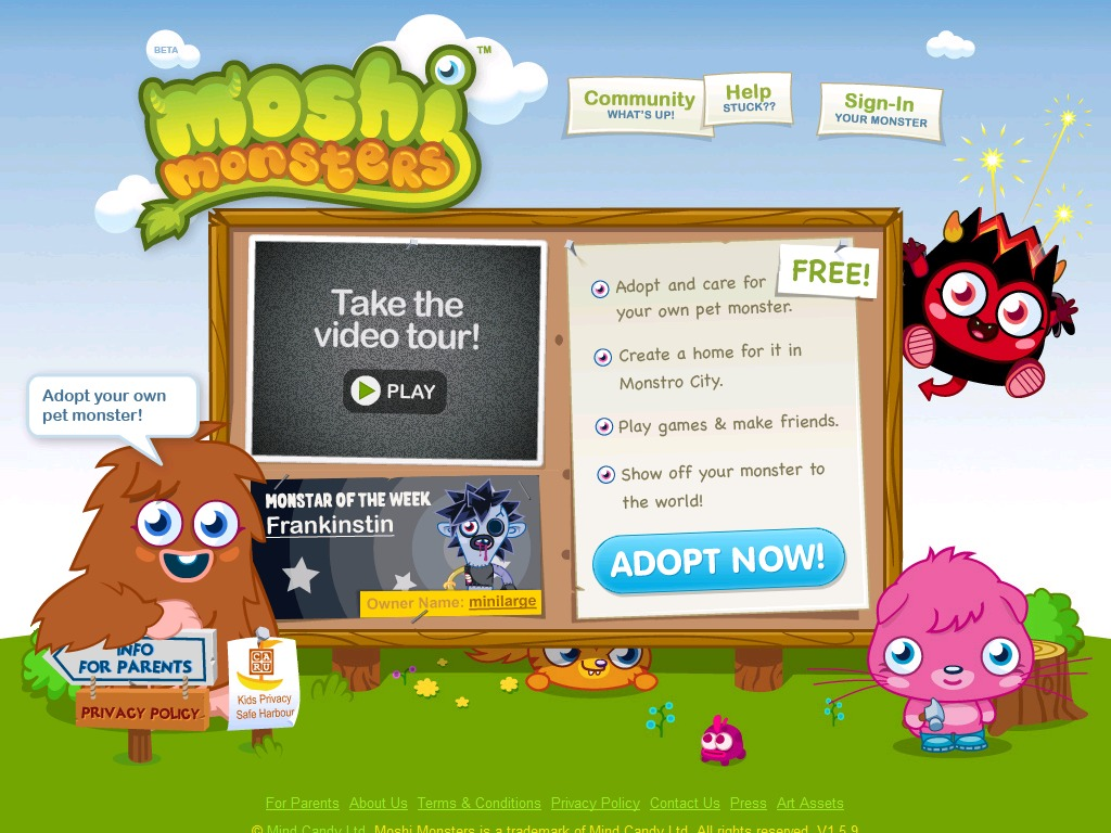 Adopt Your Own Pet Monster Step Complete the adoption and the online form, which will cause the server to send you an email to verify that the email address you gave is the correct one for you -- and that it works and you can receive email at it.